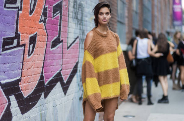 NEW YORK, NY - SEPTEMBER 11: Sara Sampaio wearing a striped oversized knit seen in the streets of Manhattan outside Zadig & Voltaire during New York Fashion Week on September 11, 2017 in New York City. (Photo by Christian Vierig/Getty Images)